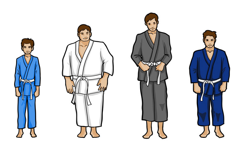 4 different body types of Brazilian jiu jitsu students.