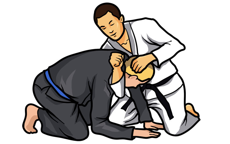 Illustration of a man doing a d'arce choke on another man.