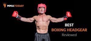 Man with boxing headgear and strong body.