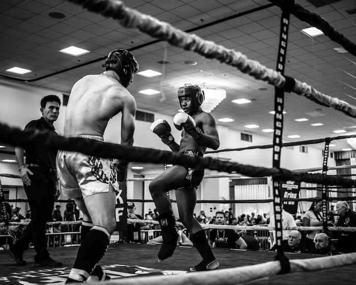 muay thai sparring in ring