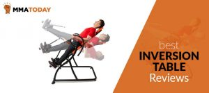 Man on inversion table on different angles.