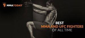 MMA fighter kicking bag.