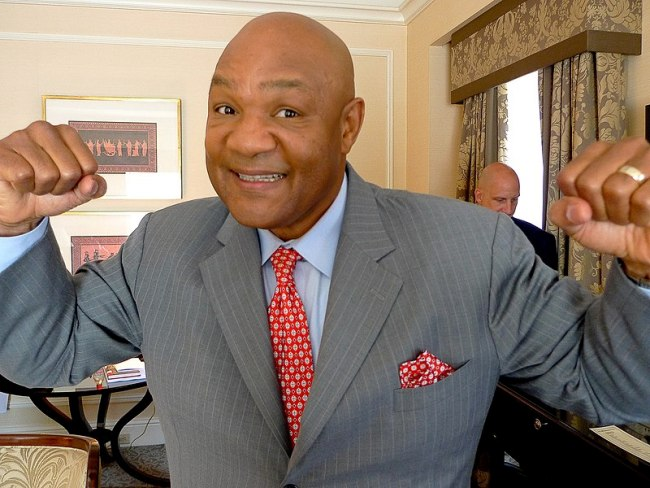 The legendary former heavyweight champion George Foreman sticks up his dukes for a photo-op.